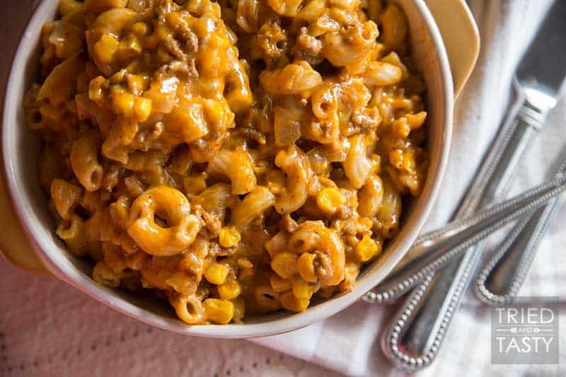 Hamburger Casserole // This has become one of my most popular recipes to date. Why? Because it's one of those recipes that everyone can relate to! It's comforting, it's cozy, and it's ingredients everyone has on hand! Make this for your family, they'll love you!   Tried and Tasty