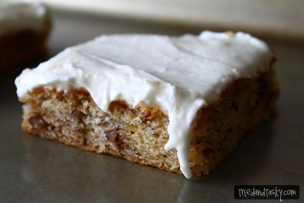 Banana Bars // A delicious breakfast or dessert when you're in the mood for something other than banana bread! Serves a crowd and easy to throw together. | Tried and Tasty