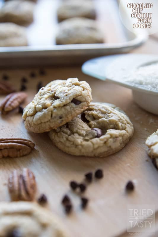 Chocolate Chip Coconut Pecan Cookies // Traditional chocolate chip cookies can be predictable and boring. With the addition of coconut and pecan, these chocolate chip cookies are extra delightful. Whip up a batch of these to satisfy your next sweet tooth!   Tried and Tasty