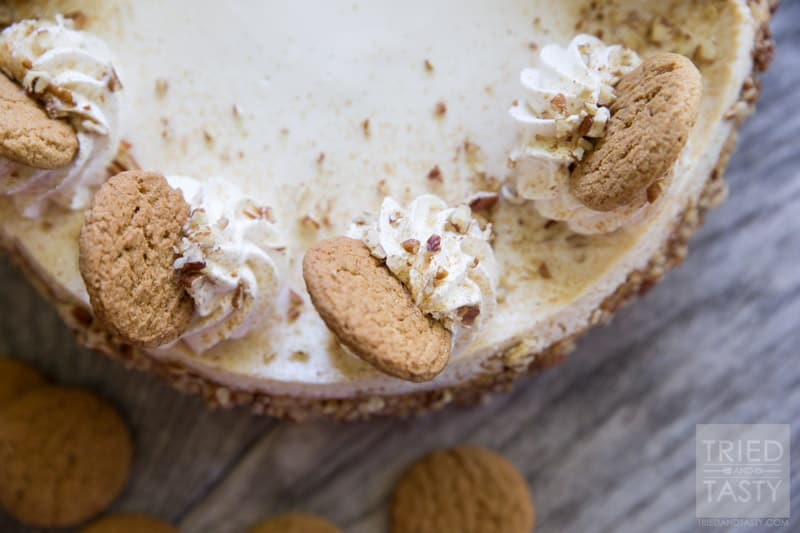 Pumpkin Cheesecake with Gingersnap-Pecan Crust // If you're looking ...