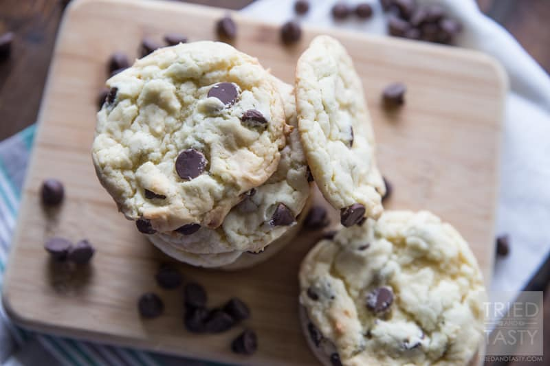 Cake Batter Cookies // One of Tried and Tasty's most popular recipes, these cake batter cookies only have five ingredients and will cost you less than $5 to make two-three dozen! Perfect for parties, gatherings, potlucks, or anytime you want to satisfy your sweet tooth without a lot of fuss! | Tried and Tasty