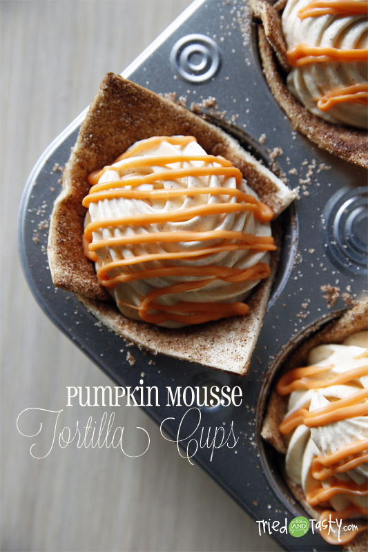 Pumpkin Mousse Tortilla Cups // TriedandTasty