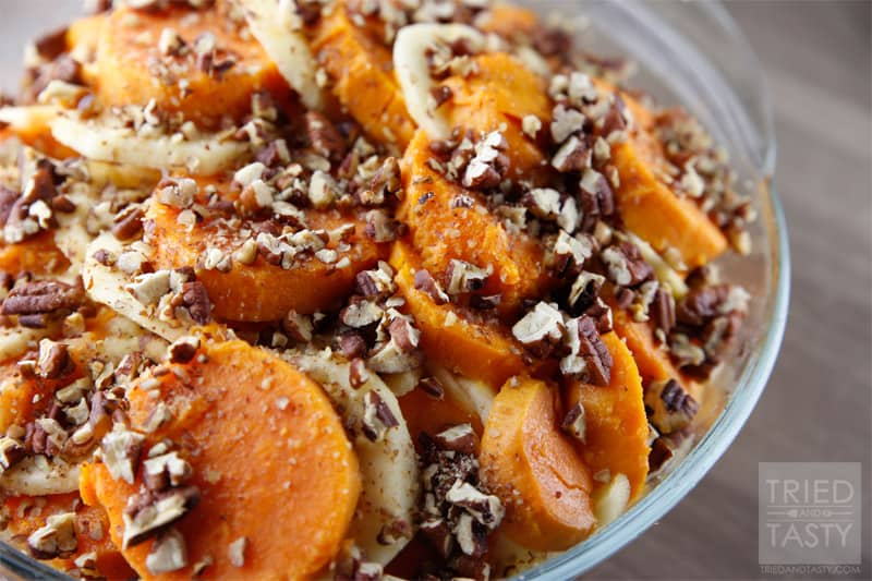 Honey Glazed Apple & Sweet Potato Casserole // Tried and Tasty
