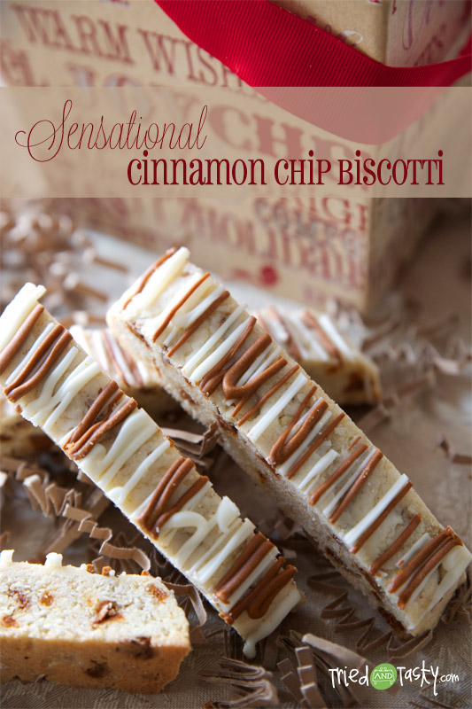 Cinnamon Chip Biscotti // These are a little softer than your average biscotti and are perfect served with a warm beverage or alone! | Tried and Tasty