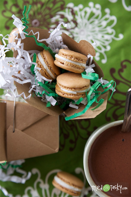 Hot Chocolate Macaroons with Marshmallow Buttercream Frosting // TriedandTasty