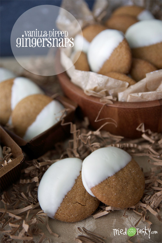 Vanilla Dipped Gingersnaps // These gingersnaps are easy, delicious, and pretty.  I love how the vanilla spices up this classic cookie! | Tried and Tasty