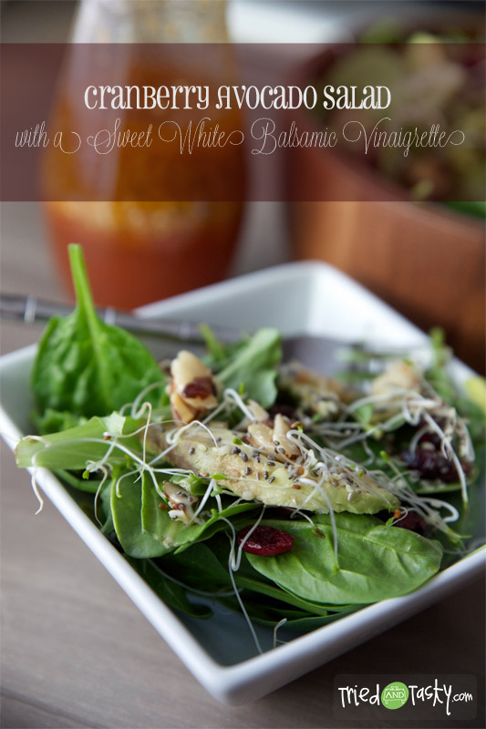 Cranberry Avocado Salad with a Sweet White Balsamic Vinaigrette // You will love the cranberry and avocado combination in this healthy salad! | Tried and Tasty