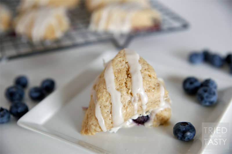 Lemon Glazed Blueberry Scones // Tried and Tasty