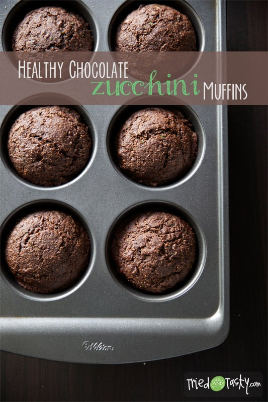 Do you love bakery style muffins but don't love the long list of unrecognizable ingredients? These Healthy Chocolate Zucchini Muffins are perfect for you! Made without any refined flour or sugar, they are a guilt free breakfast option! | Tried and Tasty