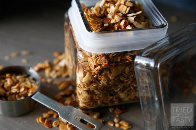 Honey Almond Granola Recipe // If you are looking for a keeper granola recipe, look no further. This is the recipe for you! | Tried and Tasty