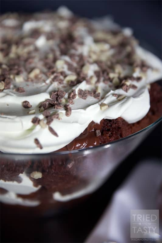 Chocolate Mint Trifle // A wonderfully light trifle with the subtle hint of mint! | Tried and Tasty