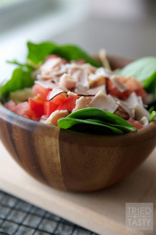 Turkey, Cheese & Tomato Spinach Salad // Tried and Tasty