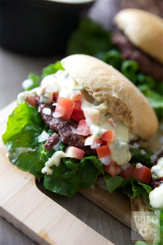 Queso Blanco Cinco De Mayo Burger // What better way to celebrate National Hamburger Month AND Cinco De Mayo than with this Queso Blanco Burger? It's everything you want in a Mexican style burger. You won't be disappointed!   Tried and Tasty