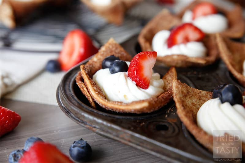 Red White Blue Tortilla Cups // A delicious and perfectly portioned holiday treat! Wonderfully patriotic with a light creamy filling finished off with the right touch of fruit! | Tried and Tasty