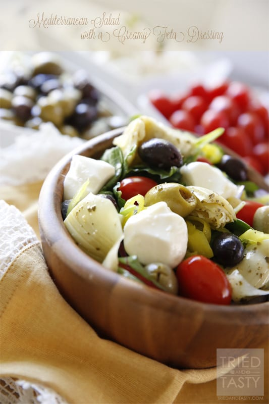Mediterranean Salad With A Creamy Feta Dressing // Tried and Tasty