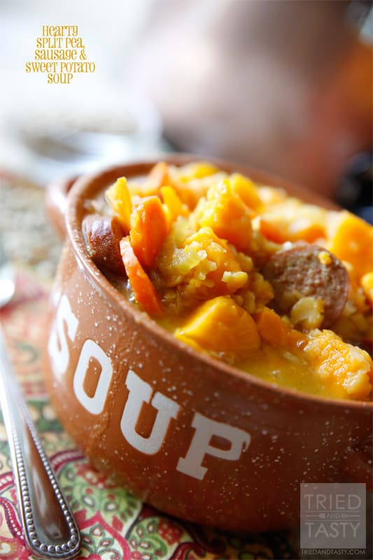 Hearty Split Pea, Sausage & Sweet Potato Soup // Tried and Tasty