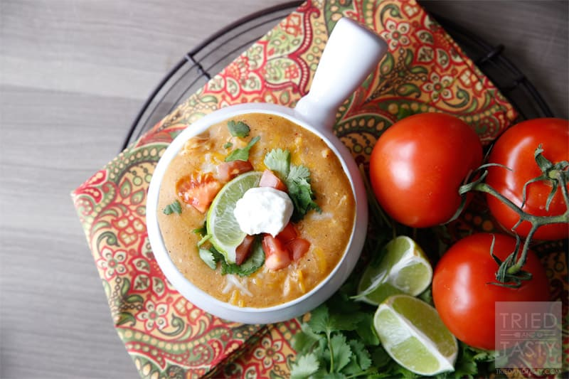 Copycat Chilis Chicken Enchilada Soup // If you like Chili's Chicken Enchilada Soup, you'll love being able to copycat the recipe right at home! You control the ingredients AND you save money. Win/Win! | Tried and Tasty