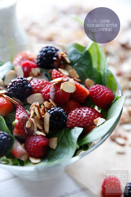 Healthier Zupas Nuts About Berries Salad Copycat // Ditch the sugar coated almonds and sugary poppyseed dressing and fall in love with this healthier version. Simple to throw together, beautiful to look at, and the most delicious healthy salad you'll ever have!   Tried and Tasty