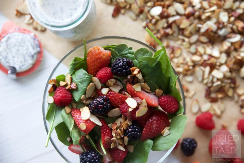 Healthier Zupas Nuts About Berries Salad Copycat // Ditch the sugar coated almonds and sugary poppyseed dressing and fall in love with this healthier version. Simple to throw together, beautiful to look at, and the most delicious healthy salad you'll ever have! | Tried and Tasty