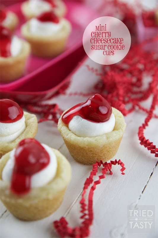 Mini Cherry Cheesecake Sugar Cookie Cups // Tried and Tasty