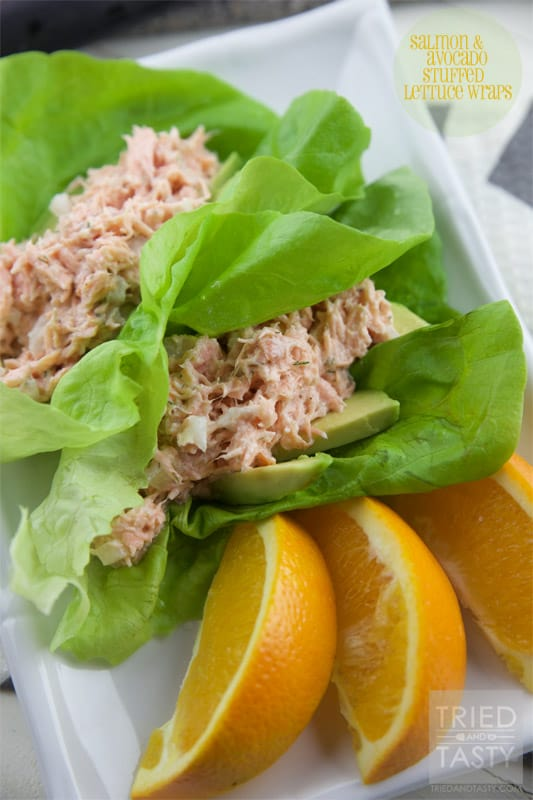 Salmon & Avocado Stuffed Lettuce Wraps // Tried and Tasty