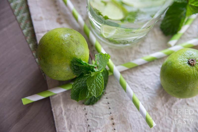Minty Lime Water // For a cool, crisp and refreshing beverage, try this simple three-ingredient water! If you've ever needed help getting your daily water intake, this Minty Lime Water will help you reach your goals!   Tried and Tasty