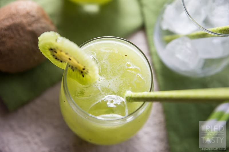 Cucumber Kiwi Agua Fresca | Looking for a delicious green drink made without any artifical coloring, soda, sherbet or ice cream? This Cucumber Kiwi Agua Fresca is PERFECT for you! It's all-natural, delicious, and really simple! Try this refreshing beverage today!  // Tried and Tasty