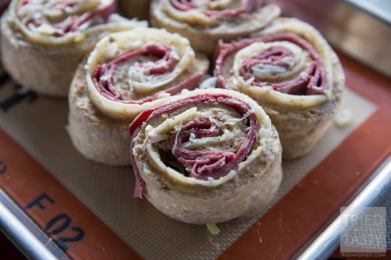 Reuben Swirl Rolls // The perfect St. Patrick's Day lunch or dinner. Stuffed with corned beef, cheese, and potatoes it's the perfect hearty meal! | Tried and Tasty