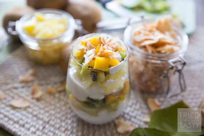 Tropical Fruit & Yogurt Parfait // Want a quick and easy breakfast that will transport you to the tropics without leaving home? This Tropical Fruit & Yogurt Parfait will leave your tastebuds dancing like they're on vacation! Only five ingredients! | Tried and Tasty