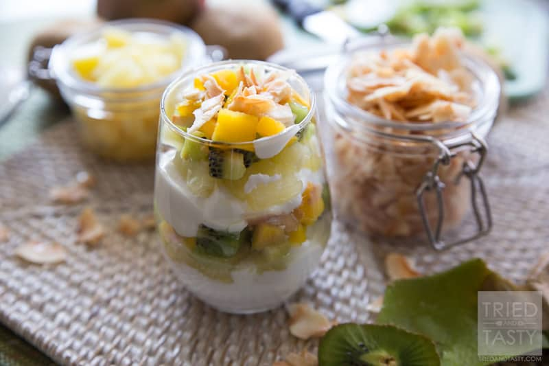 Tropical Fruit & Yogurt Parfait // Want a quick and easy breakfast that will transport you to the tropics without leaving home? This Tropical Fruit & Yogurt Parfait will leave your tastebuds dancing like their on vacation! Only five ingredients! | Tried and Tasty