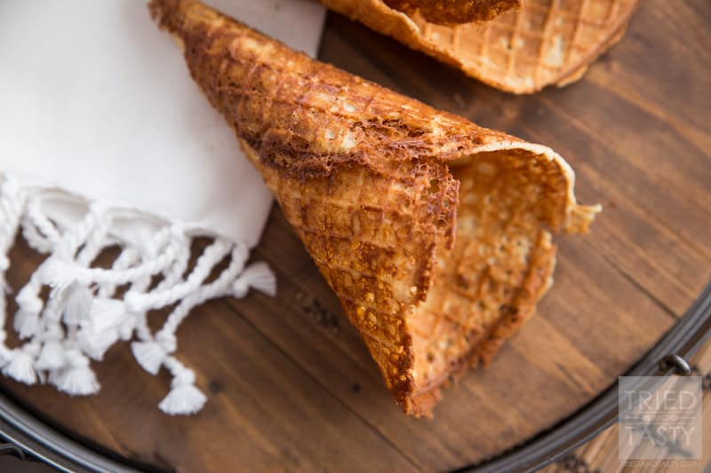 Homemade Gluten Free Waffle Cones // Ever tried making your own waffle cones? It's easy peasy and once you've made your own you'll never want to buy store bought again! This fantastic recipe is made without any refined sugar or refined flour! Absolutely delicious! | Tried and Tasty
