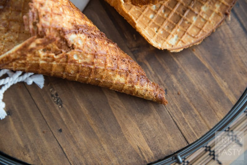 Homemade Gluten Free Waffle Cones // Ever tried making your own waffle cones? It's easy peasy and once you've made your own you'll never want to buy store bought again! This fantastic recipe is made without any refined sugar or refined flour! Absolutely delicious!   Tried and Tasty