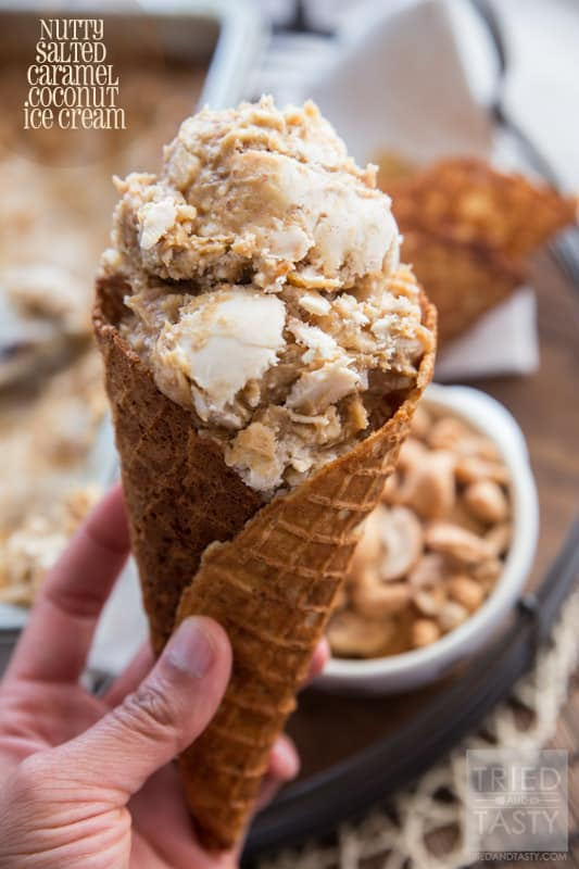 Nutty Salted Caramel Coconut Ice Cream // If you love coconut and cashews, you have found the one and only ice cream recipe you will ever need. Made without any refined sugar, with a velvety smooth date caramel ribbon, you'll find yourself sneaking to the freezer for a scoop time and time again! | Tried and Tasty