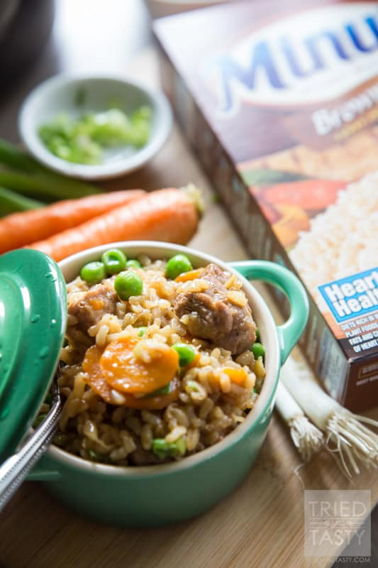 One Pot Asian-Inspired Pork & Rice // Use Minute Rice Brown Rice for this delicious and hearty meal. Powerful flavors come together to create and explosion of flavor in your mouth. One bite, and you will want to make this again and again. Perfect Asian-inspired dinner great any day of the week! | Tried and Tasty