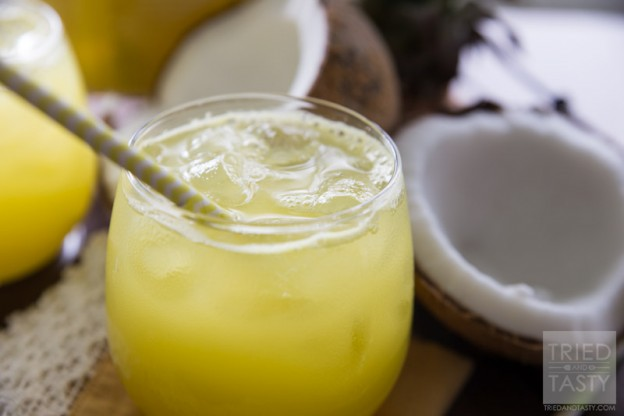 Pina Colada Agua Fresca | Looking for a delicious drink made without any artificial coloring, soda, sherbet or ice cream? This Pina Colada Agua Fresca is PERFECT for you! It's all-natural, delicious, and really simple! Try this refreshing beverage today! // Tried and Tasty