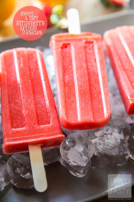 Sweet & Tart Strawberry Lemon Popsicles // Tried and Tasty