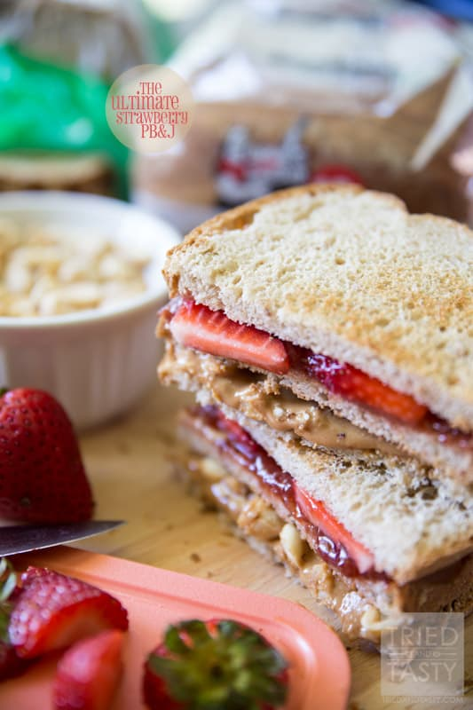 The Ultimate Strawberry PB&J // Who says peanut butter and jelly sandwiches have to be boring? This double-decker knockout creation has two extra special add-ins. Come see what they are and how to make this mouth-watering pb&j! | Tried and Tasty