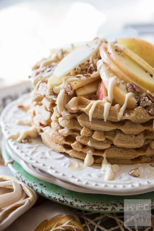 Whole Wheat Apple Pie Waffles // Looking to amp up your nutrition in the morning? These whole wheat waffles have a secret ingredient that packs them with protein! They are easy, delicious, and a great way to start your morning!   Tried and Tasty