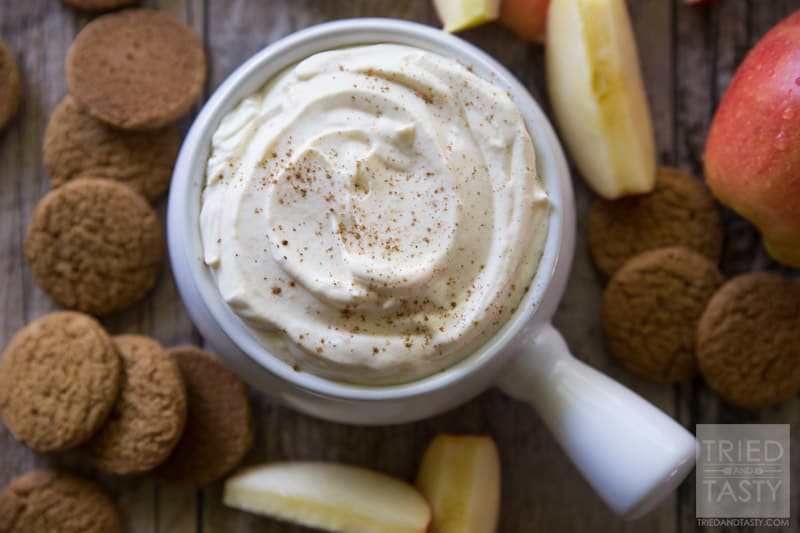 3-Ingredient Pumpkin Dip // This delicious festive dip is both simple & HEALTHY! You read that right! With only three ingredients this is perfect for apples for the health concious or gingersnaps for the sweet tooth! | Tried and Tasty