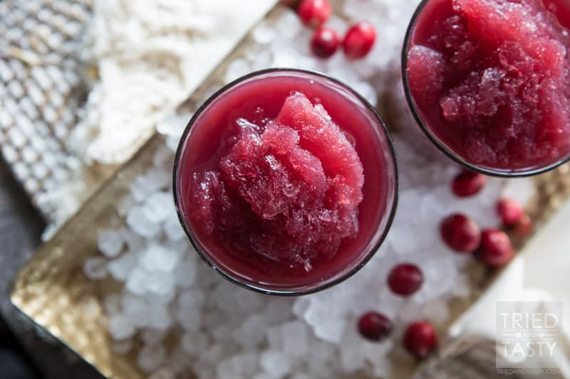 Cran-Pomegranate Citrus Slushie // The tangy flavors of this power packed slushie will have your tastebuds dancing to a new tune! Non-alcoholic and perfect for all of the guests at your holiday party!   Tried and Tasty