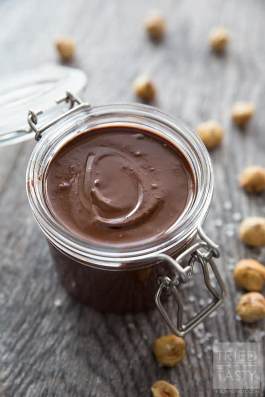 Three Ingredient Nutella // Doesn't get any easier than this. Three Ingredients. If you love Nutella and want a healthier option where you can control the ingredients THIS is the recipe for you. Nothing artificial. The healthier alternative to the amazing hazelnut spread! | Tried and Tasty