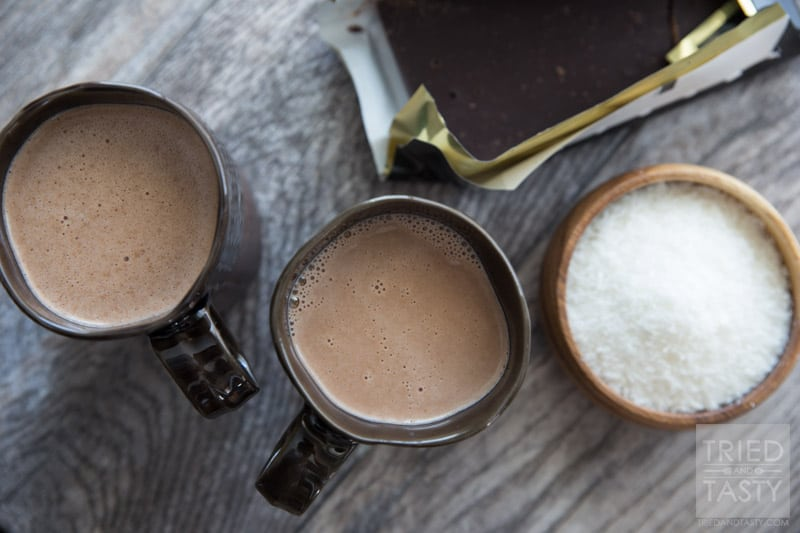 Coconut Nutella Hot Chocolate // Warm up this winter with a refined-sugar-free, rich & creamy hot chocolate. If you like coconut, you'll love this rich indulgent drink made with all natural ingredients!   Tried and Tasty