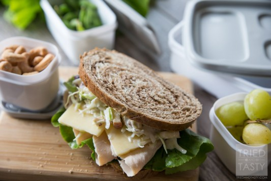 Copycat Panera Turkey, Apple & Cheddar Sandwich // This delicious restaurant favorite made just a little bit healthier! Little bit of crunch, little bit of tang and a whole lot of flavor! Enjoy this specialty sandwich right at home - the perfect quick & easy lunch! | Tried and Tasty