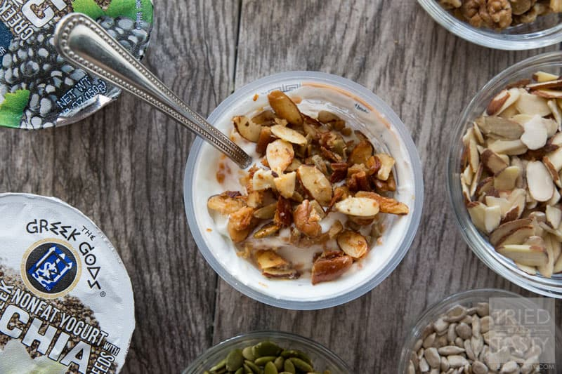 Grain Free Granola Parfait // For those that are gluten free or grain free (an even for those that aren't) this delicious granola will satisfy any breakfast or snack craving! PAcked with nutritious nuts, seeds, and flavor you won't even miss the grains. Sprinkle over top of chia seed yogurt for the most delicious parfait! | Tried and Tasty