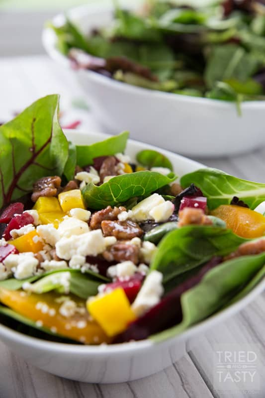 Healthy Beet & Feta Salad // This salad was inspired by the Blue Lemon Roasted Beet Salad. So many wonderful flavors all nestled together in one bowl. Drizzled with a lemon vinaigrette a great starter to any tasty meal. Simple to throw together. Stunning enough for any dinner table!   Tried and Tasty