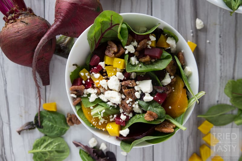 Healthy Beet & Feta Salad // This salad was inspired by the Blue Lemon Roasted Beet Salad. So many wonderful flavors all nestled together in one bowl. Drizzled with a lemon vinaigrette a great starter to any tasty meal. Simple to throw together. Stunning enough for any dinner table! | Tried and Tasty