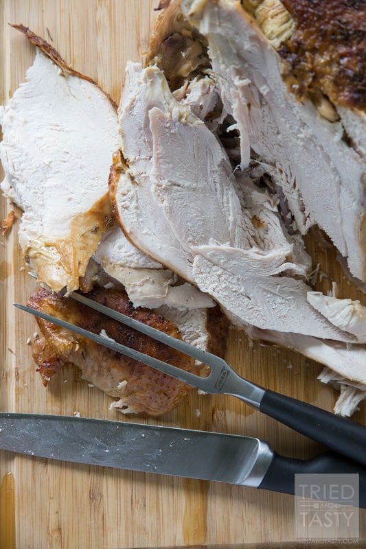 Parmesan Roasted Turkey // Looking for a juicy oven roasted turkey with a twist? This Parmesan Roasted Turkey is phenomenal and great for any holiday. Plus, the leftovers make great turkey sandwiches or filling for a hearty soup.   Tried and Tasty