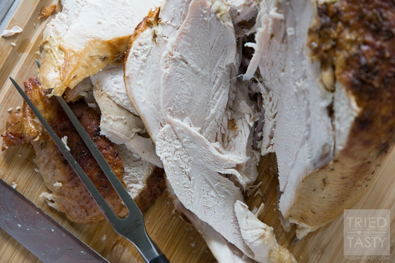 Parmesan Roasted Turkey // Lookiing for a juicy oven roasted turkey with a twist? This Parmesan Roasted Turkey is phenomenal and great for any holiday. Plus, the leftovers make great turkey sandwiches or filling for a hearty soup. | Tried and Tasty