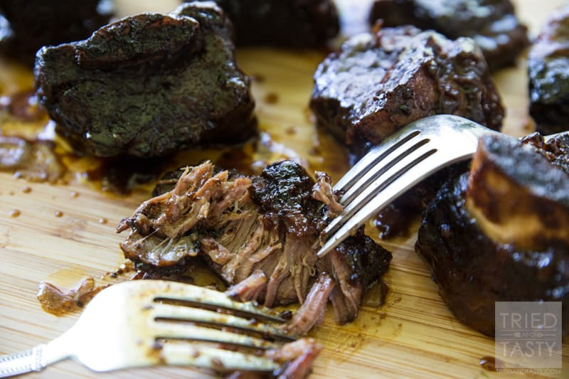 Sweet Heat Chipotle Honey Short Ribs // These fall-off-the-bone-tender short ribs are fantastic. A sweet flavor with the surprising kick of a little bit of chipotle. Perfect for any BBQ or picnic, but made in the crockpot they can be enjoyed all year long! | Tried and Tasty