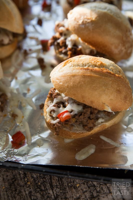 Philly Joe Sliders // This is a combination of a Philly Cheese Steak and a Sloppy Joe in a small hand held slider. | Tried and Tasty